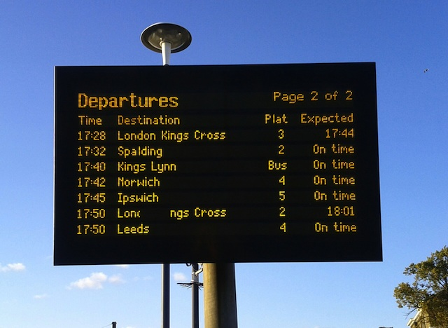 Peterborough departures board